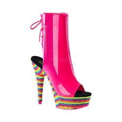 Women's Pleaser Delight 1018RBS Open-Toe Ankle Boot Neon Hot Pink Patent/Neon Multi
