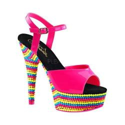 Women's Pleaser Delight 609RBS Ankle Strap Sandal Neon Hot Pink Patent/Neon Multi