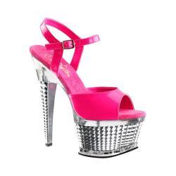 Women's Pleaser Illusion 659UV Platform Sandal Neon Hot Pink Patent/Silver Chrome