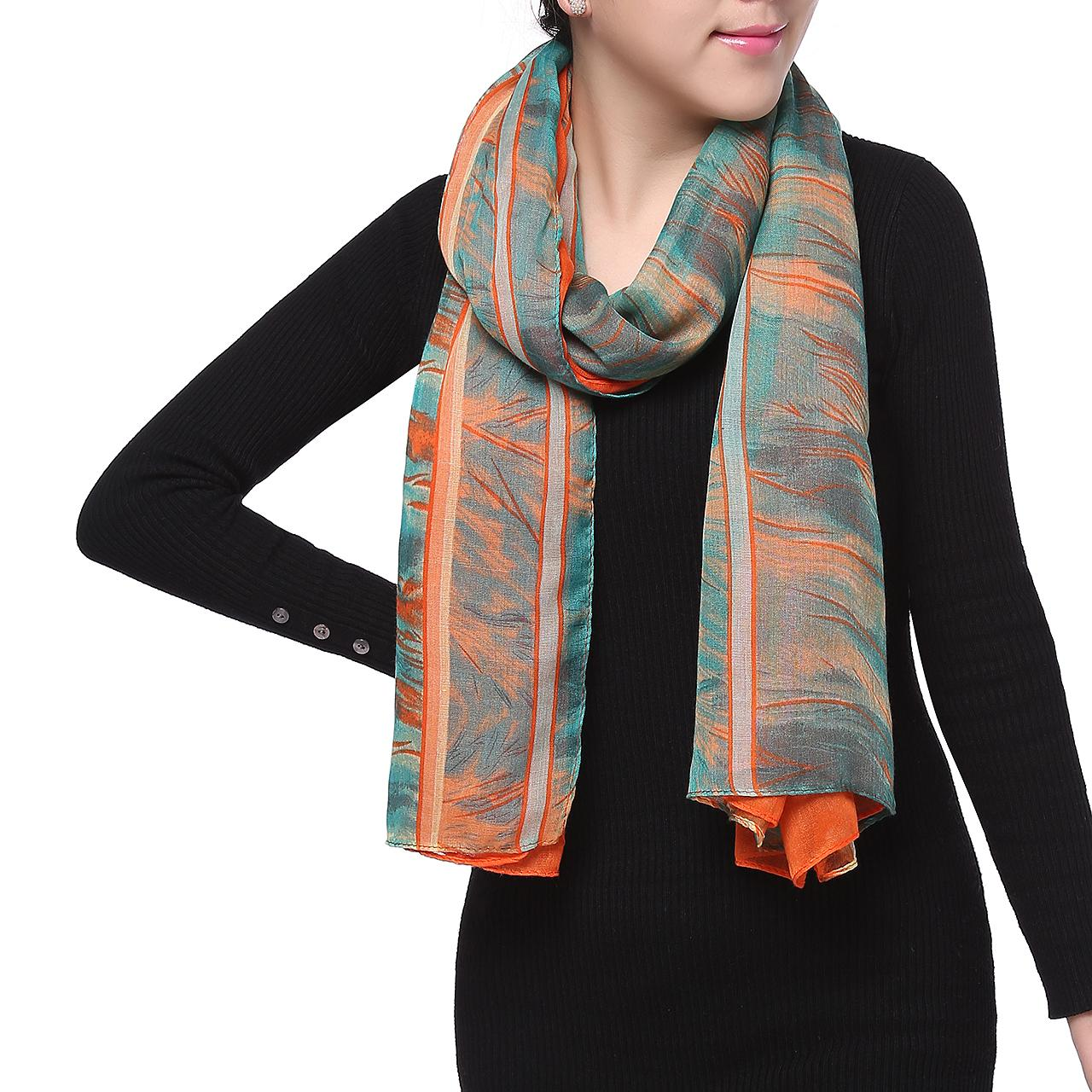 Spring Fashion Chiffon Scarf, Floral Abstract Orange Green Grey