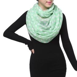 Spring Fashion Infinity Chiffon Scarf, Polka Dots Green White