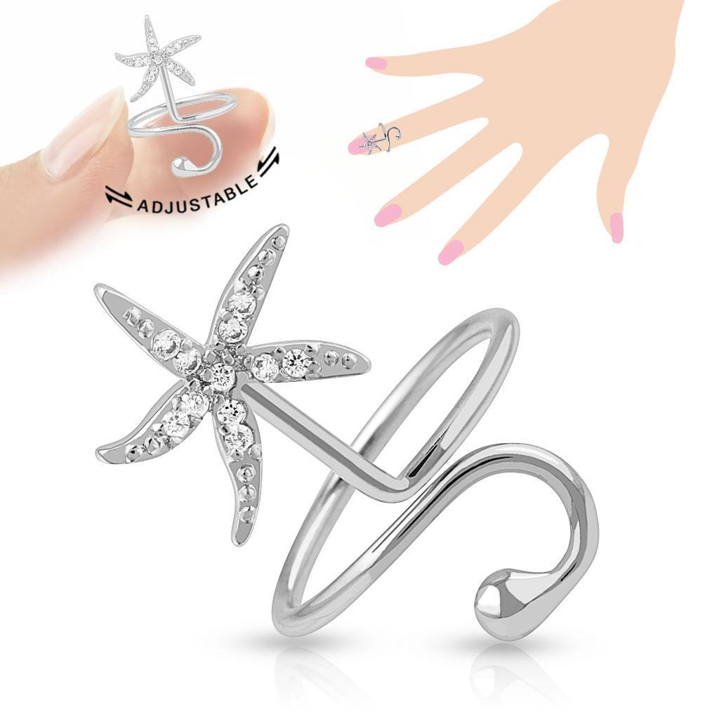 Starfish Multi-Paved Gems Adjustable Rhodium Plated Brass Nail Ring