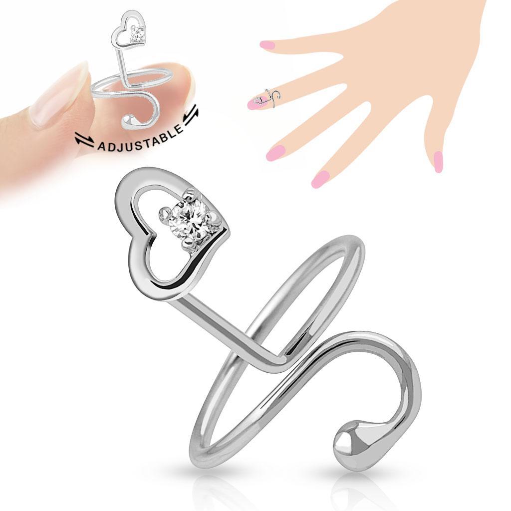 Heart Single Gem Adjustable Rhodium Plated Brass Nail Ring