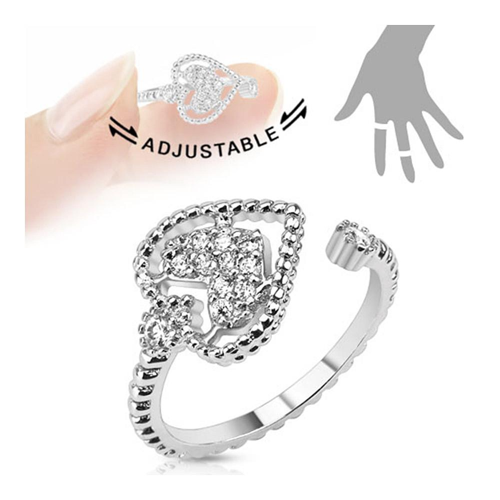 Heart Multi-Paved Gems Adjustable Rhodium Plated Brass Mid-Ring/Toe Ring