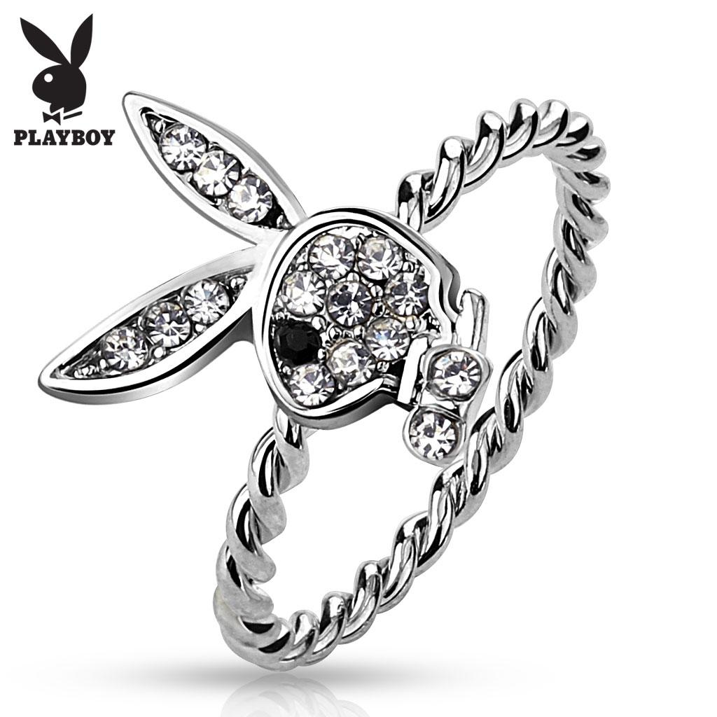Gem Paved Playboy Bunny Rope Ring