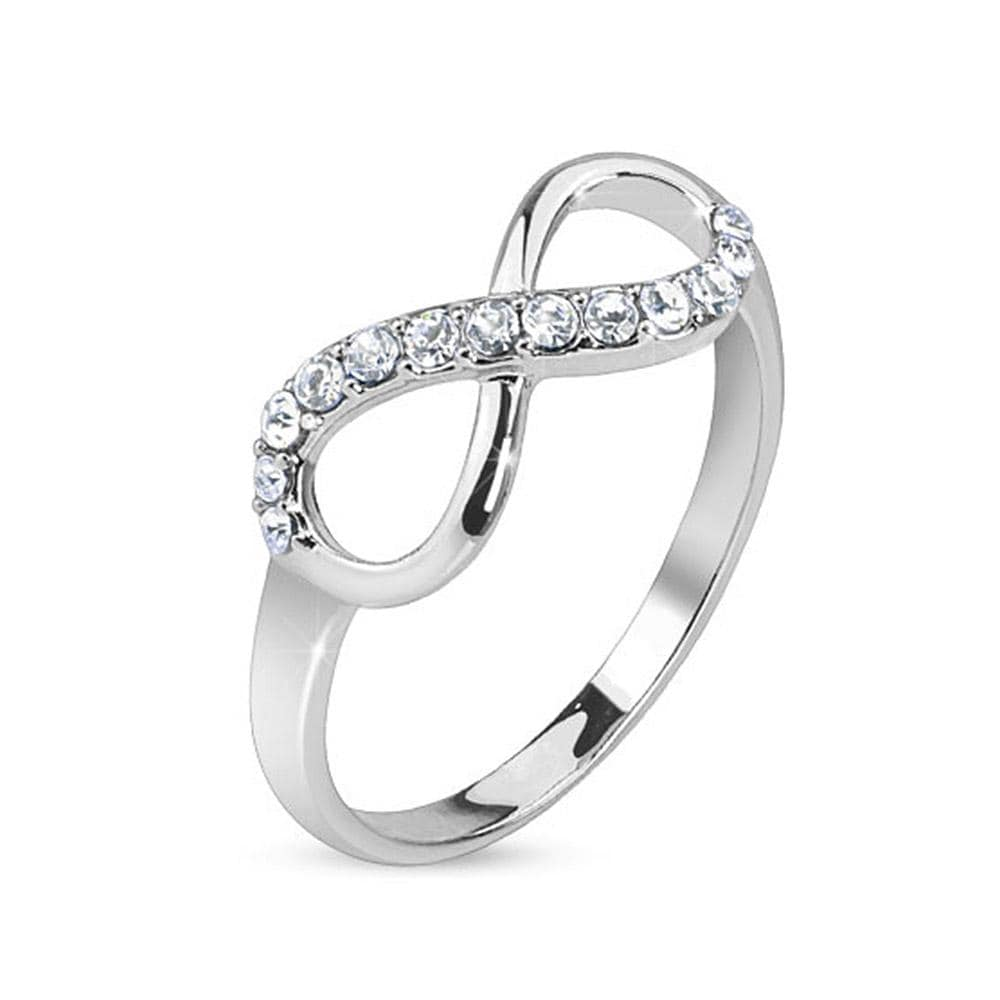 Infinite Pave Gemmed Rodium Plated Brass Ring