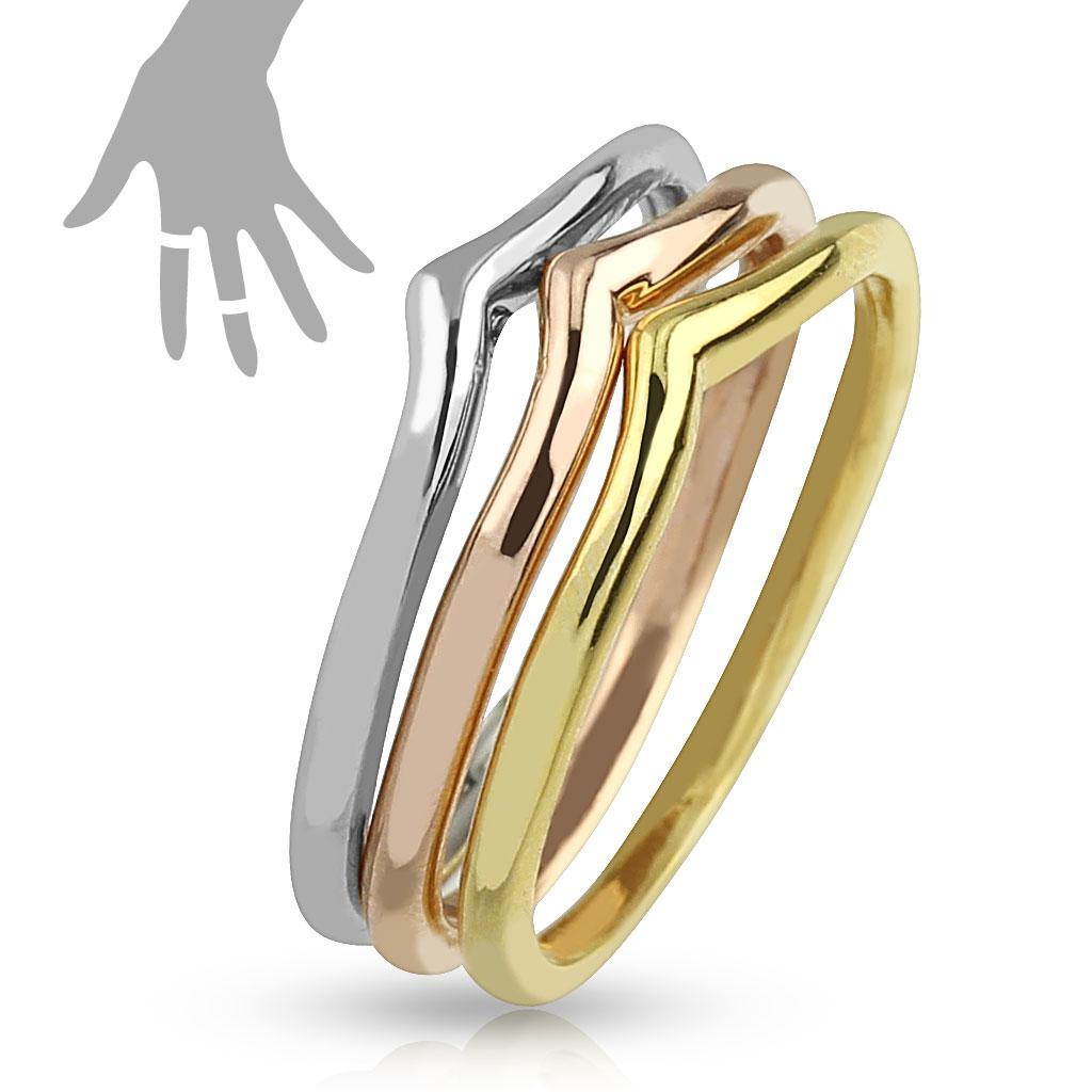 Tri-Color Triple Mid-Rings/Toe-Rings