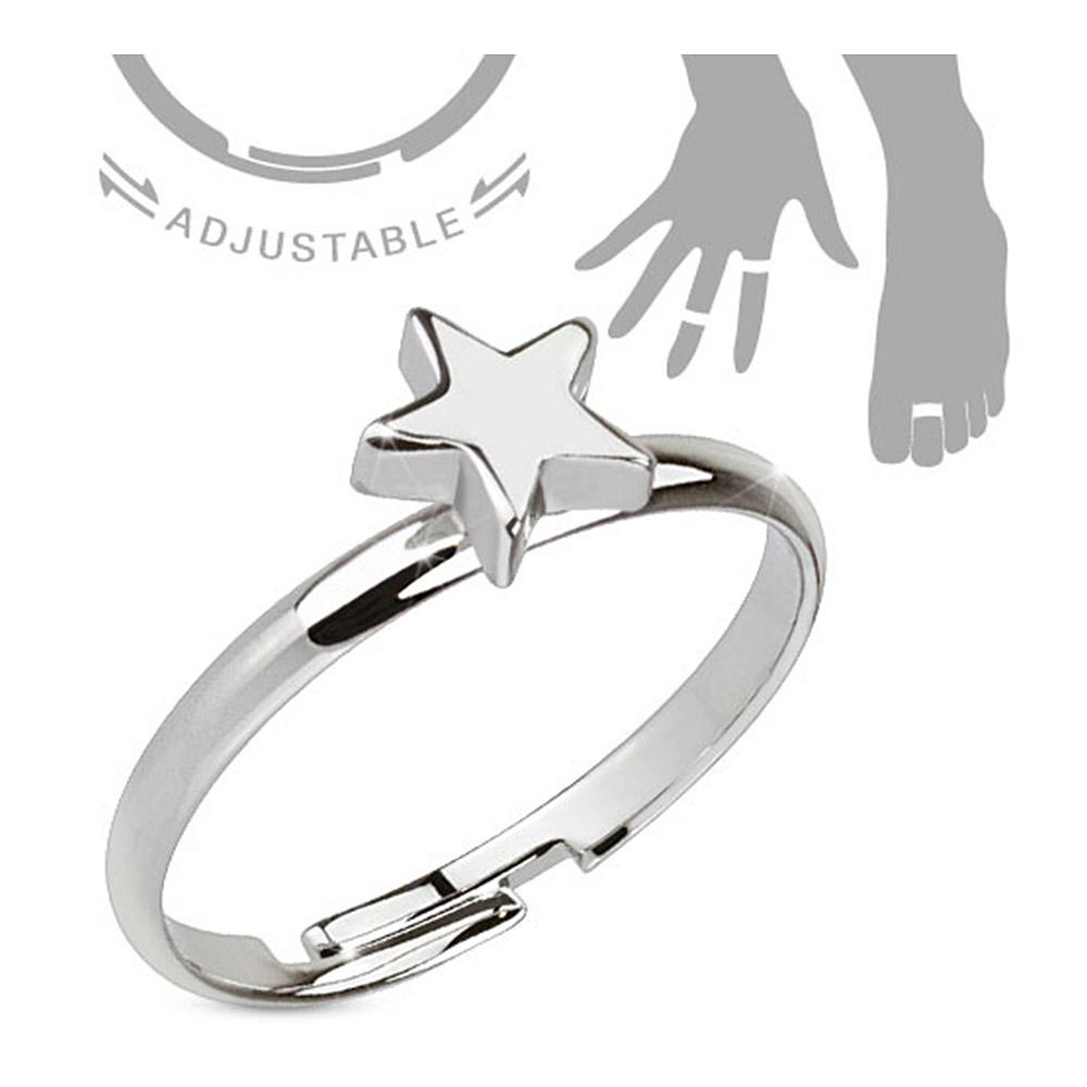 Petite Star Adjustable Rhodium Plated Brass Mid-Ring/Toe Ring