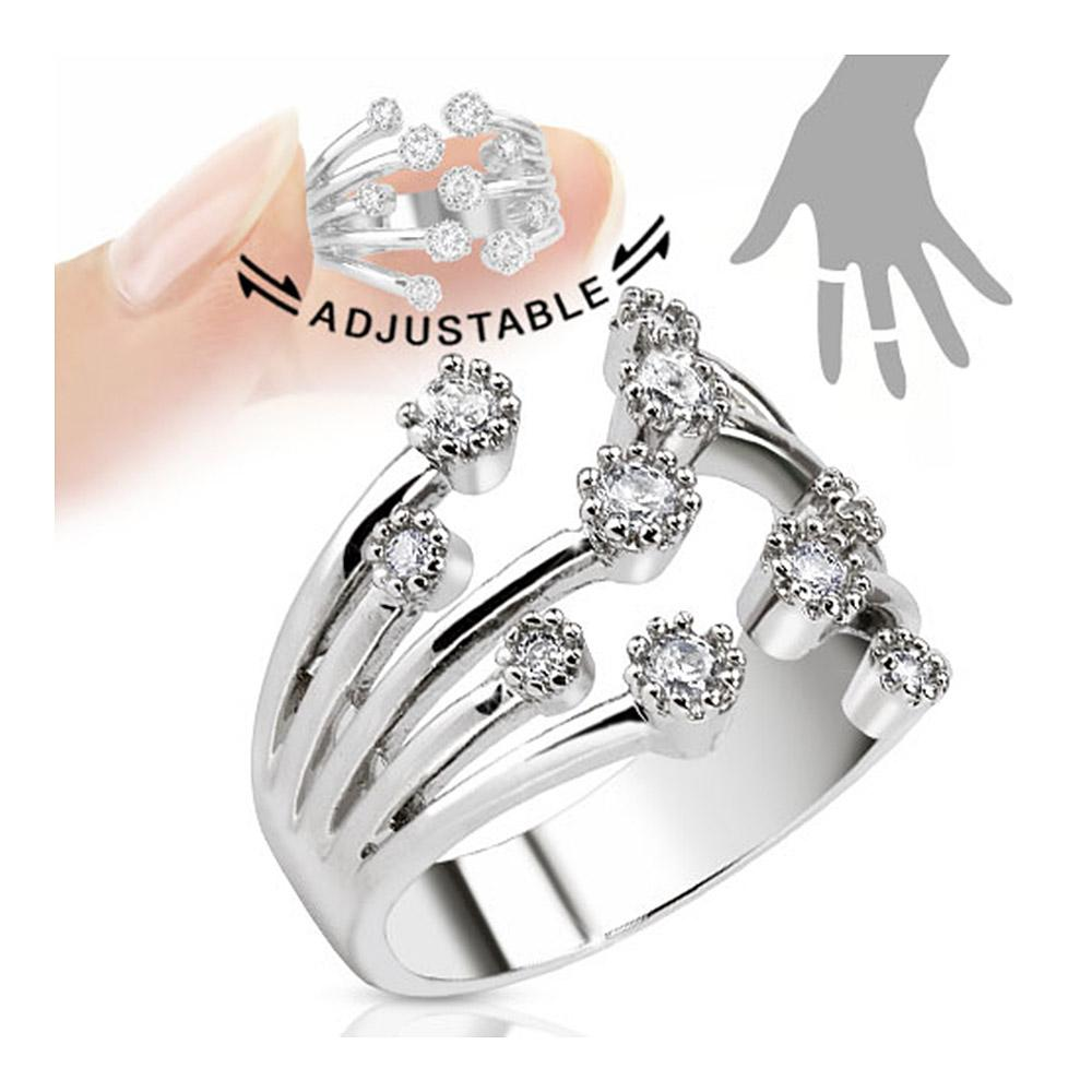 Fountain of Multi-Paved Gems Adjustable Rhodium Plated Brass Mid-Ring/Toe Ring