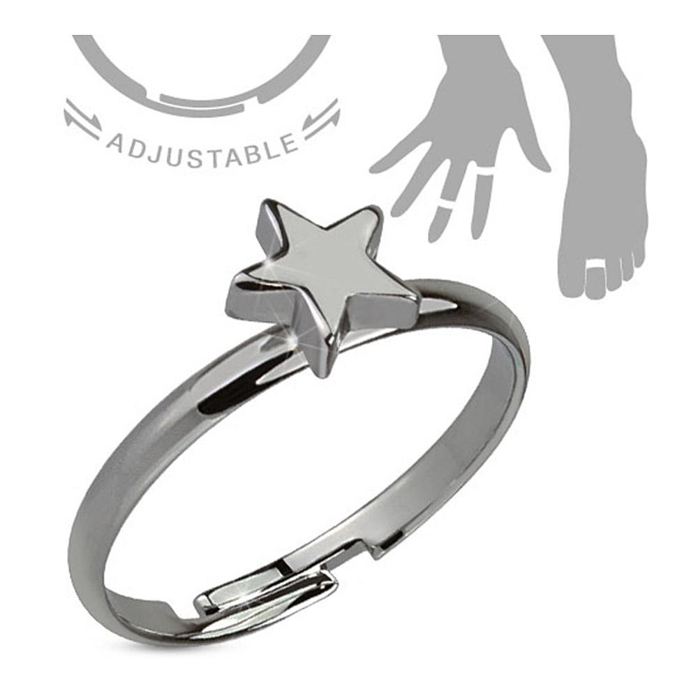 Dark Petite Star Hemitite Plated Brass Mid-Ring/Toe Ring