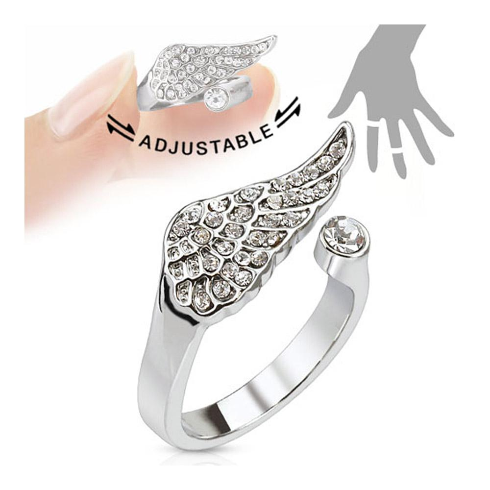 Angel Wing Multi-Paved Gems Adjustable Rhodium Plated Brass Mid-Ring/Toe Ring