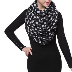 Spring Fashion Infinity Chiffon Scarf, Polka Dots Print Black White
