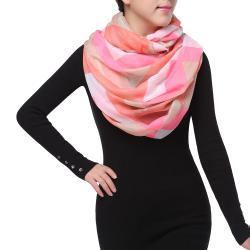 Bright Sunny Spring Fashion Infinity Chiffon Scarf, Fuchsia Pink