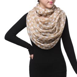 Spring Fashion Infinity Chiffon Scarf, Polka Dots Coffee Brown White - Thumbnail 0