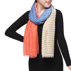 Spring Fashion Chiffon Scarf, Color Block Stripes Blue Red Beige