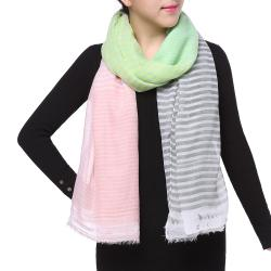 Spring Fashion Chiffon Scarf, Color Block Stripes Grey Green Pink
