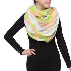 Bright Sunny Spring Fashion Chiffon Infinity Scarf, Pink Green White