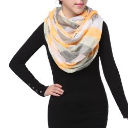 Bright Sunny Spring Fashion Chiffon Infinity Scarf, Orange Grey White