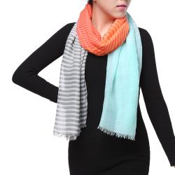 Spring Fashion Chiffon Scarf, Color Block Stripes Green Red Grey