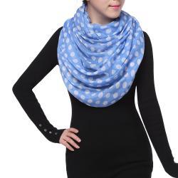 Spring Fashion Infinity Chiffon Scarf, Polka Dots Print Blue White