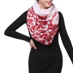 Spring Fashion Infinity Chiffon Scarf, Floral Red White