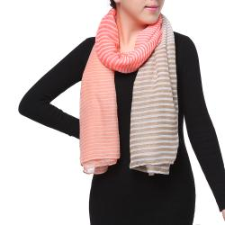 Spring Fashion Chiffon Scarf, Color Block Stripes Pink Beige
