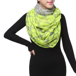 Spring Fashion Infinity Chiffon Scarf, Leopard Print Yellow Grey