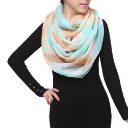 Bright Sunny Spring Fashion Infinity Chiffon Scarf, Tan Blue Beige White
