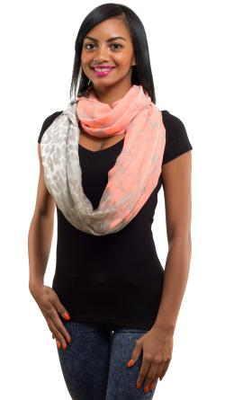Spring Fashion Chiffon Scarf, Leopard Print Orange Grey