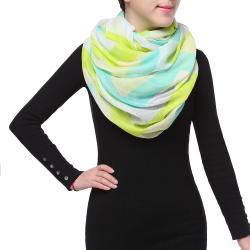 Bright Sunny Spring Fashion Infinity Chiffon Scarf, Green Blue White