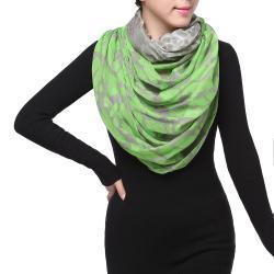 Spring Fashion Infinity Chiffon Scarf, Leopard Print Green Grey