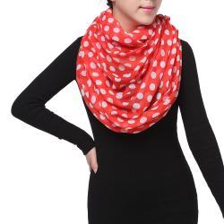 Spring Fashion Infinity Chiffon Scarf, Polka Dots Red White