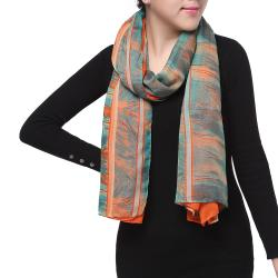 Spring Fashion Chiffon Scarf, Floral Abstract Orange Green Grey - Thumbnail 0
