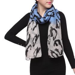 Spring Fashion Chiffon Scarf, Camo Blue Black Light Grey