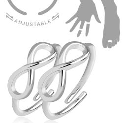 Infinity Symbol Adjustable Rhodium Plated Brass Double Mid-Ring/Toe-Rings - Thumbnail 0