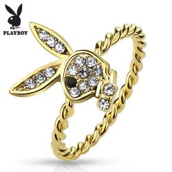 Gem Paved Playboy Bunny Gold IP Rope Ring - Thumbnail 0