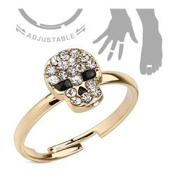 Multi Gem Paved Skull Adjustable Brass Mid-Ring/Toe Ring - Thumbnail 0
