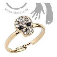 Multi Gem Paved Skull Adjustable Brass Mid-Ring/Toe Ring