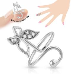 Butterfly Multi-Paved Gems Adjustable Rhodium Plated Brass Nail Ring