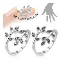 Leaves with Paved Gems Adjustable Rhodium Plated Brass Mid-Ring/Toe Ring