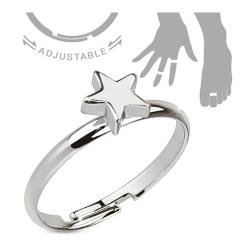 Petite Star Adjustable Rhodium Plated Brass Mid-Ring/Toe Ring - Thumbnail 0