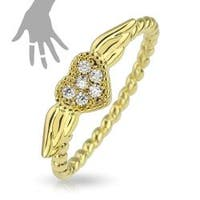 Heart Wing Multi-Paved Gems Brass with Gold IP Plated Mid-Ring/Toe-Ring