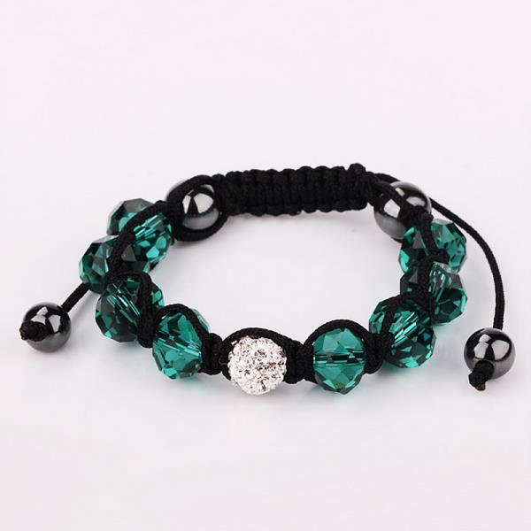 Vienna Jewelry Hand Made Swarovksi Elements Bracelet & Gemstone Beads-Dark Emerald