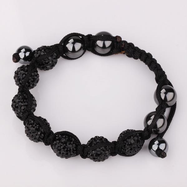 Vienna Jewelry Hand Made Six Stone Swarovksi Elements Bracelet- Bright Onyx