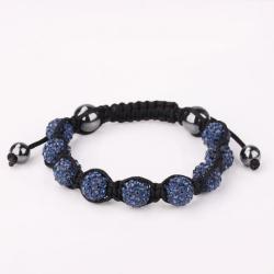 Vienna Jewelry Hand Made Eight Stone Swarovksi Elements Bracelet- Dark Saphire