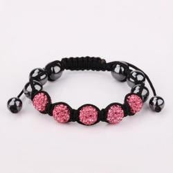 Vienna Jewelry Hand Made Five Stone Swarovksi Elements Bracelet-Royal Coral - Thumbnail 0