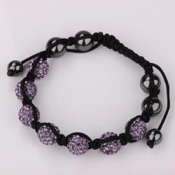 Vienna Jewelry Hand Made Six Stone Swarovksi Elements Bracelet- Bright Lavender - Thumbnail 0