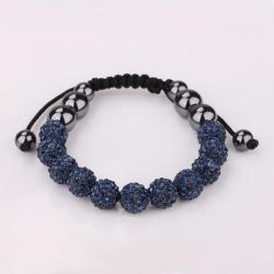 Vienna Jewelry Hand Made Eleven Stone Swarovksi Elements Bracelet- Vivid Dark Saphire - Thumbnail 0