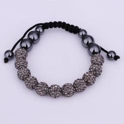 Vienna Jewelry Hand Made Eleven Stone Swarovksi Elements Bracelet- Vivid Dark Onyx - Thumbnail 0