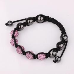 Vienna Jewelry Hand Made Five Stone Swarovksi Elements Bracelet-Dark Coral - Thumbnail 0